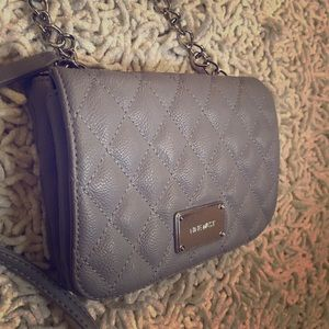Quilted Taupe Cross-body bag with Chain Strap